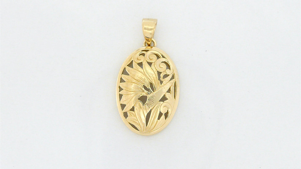 14K Gold Pendant Bird of Paradise Medium