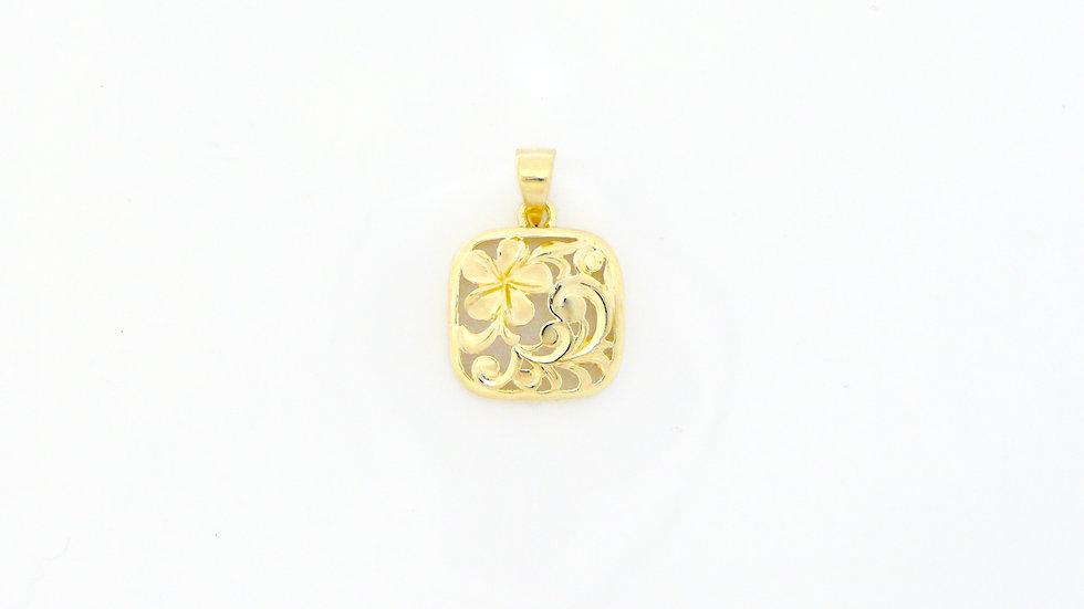 14K Gold Puanani Plumeria Pendant Plain small