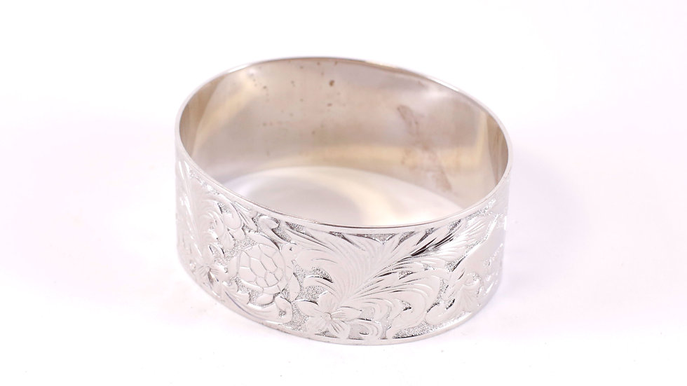 Silver Tribal Bangle Wide 2