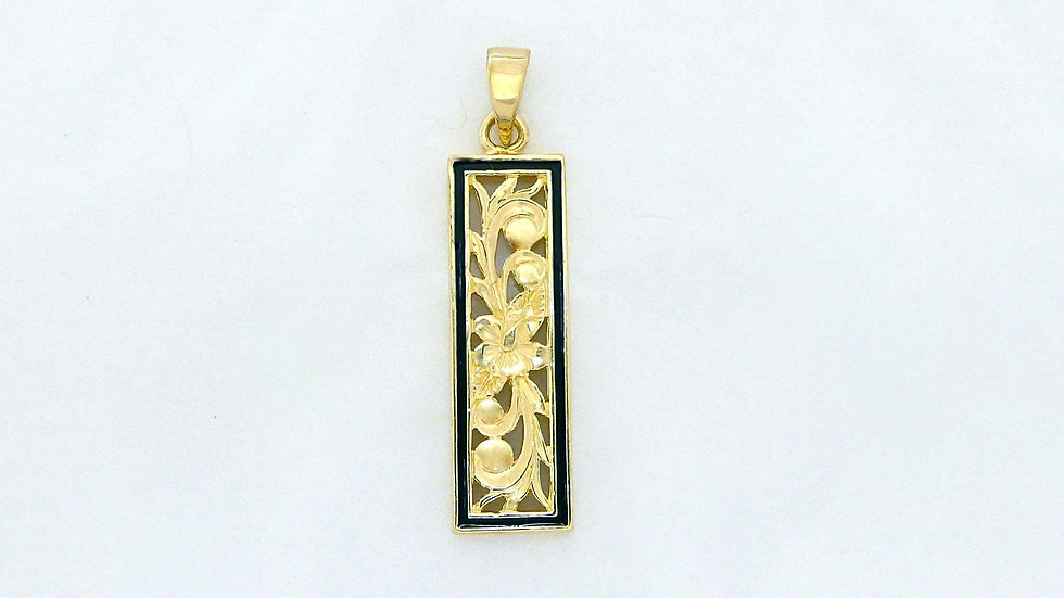 6mm 14K Gold Vertical Pendant Black