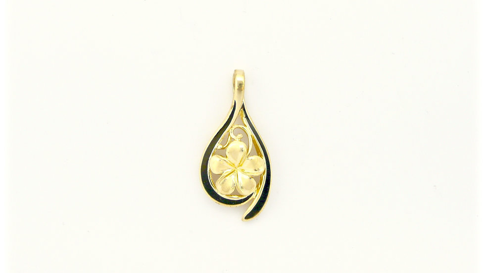 14K Gold Plumeria Pendant Dew Drop #2