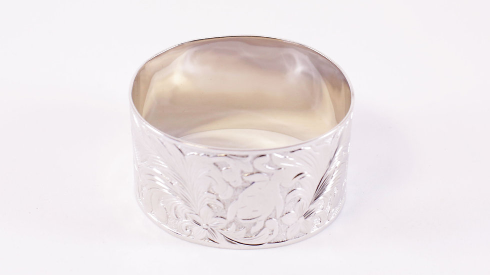 Silver Tribal Bangle Wide