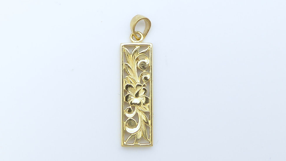 6mm 14K Gold Vertical Pendant plain