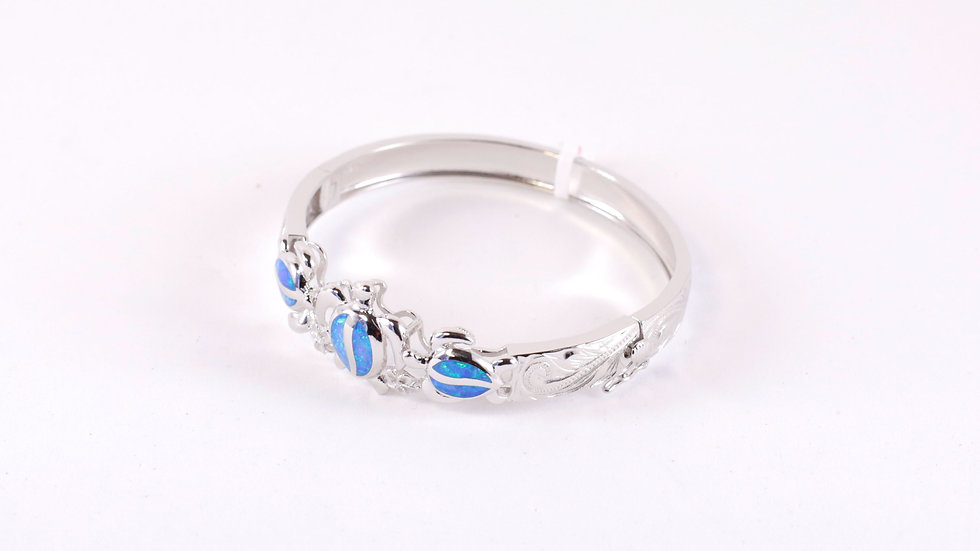 Silver Blue Turtle Bangle