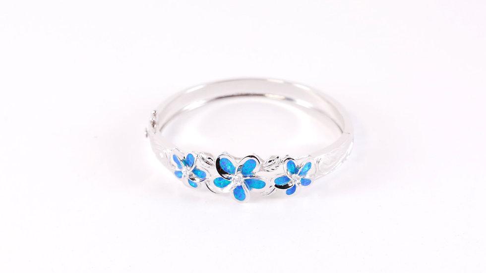 Silver Blue Three Plumeria Bangle