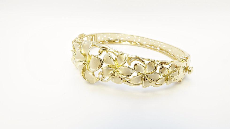 14k Gold 7 plumeria flower Bangle