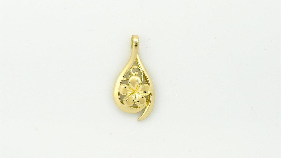 14K Gold Plumeria Pendant Dew Drop #2