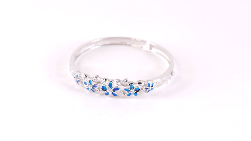Silver Blue Plumeria Bangle