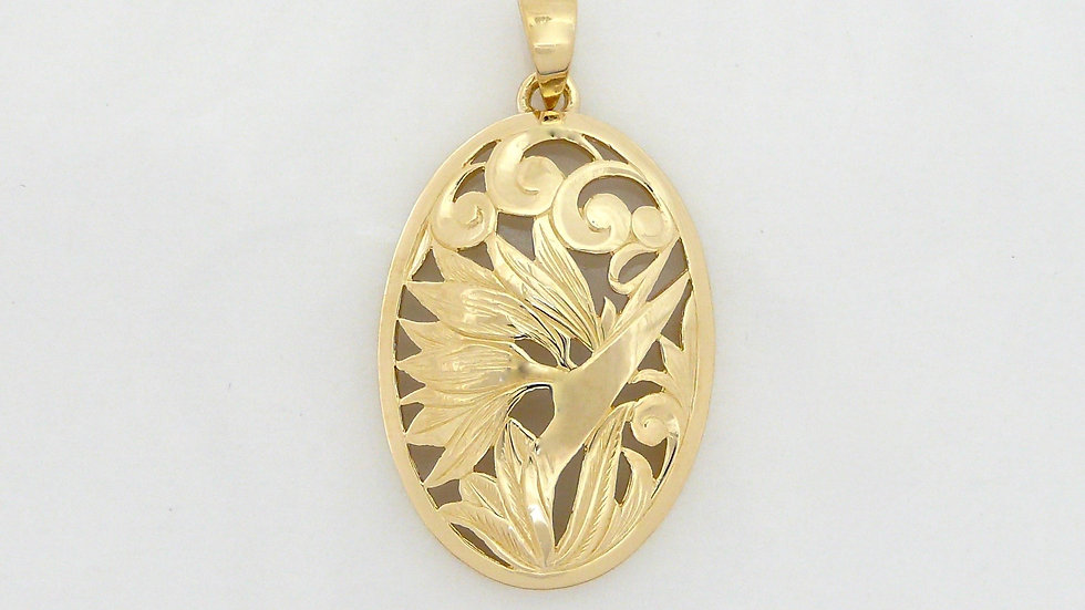 14K Gold Pendant Bird of Paradise Large