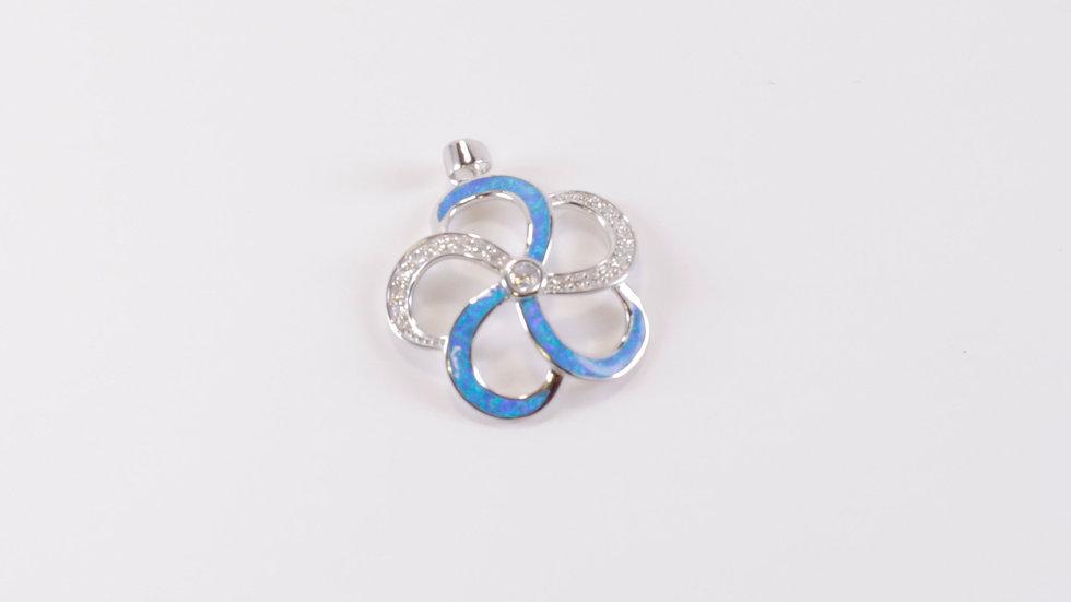 Silver and Blue Plumeria Pendant