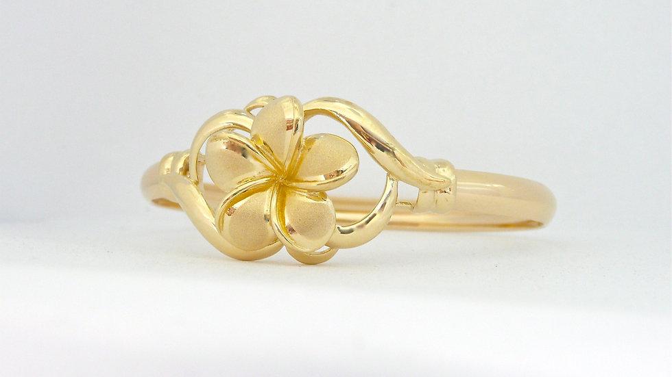 14K Gold Plumeria Bangle