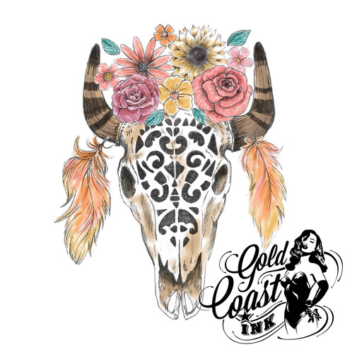a33816a47 Beautiful black, white, brown, pink and yellow Bull Skull temporary tattoo.  This Tribal, Boho, Cattle Skull design has been completely hand drawn.