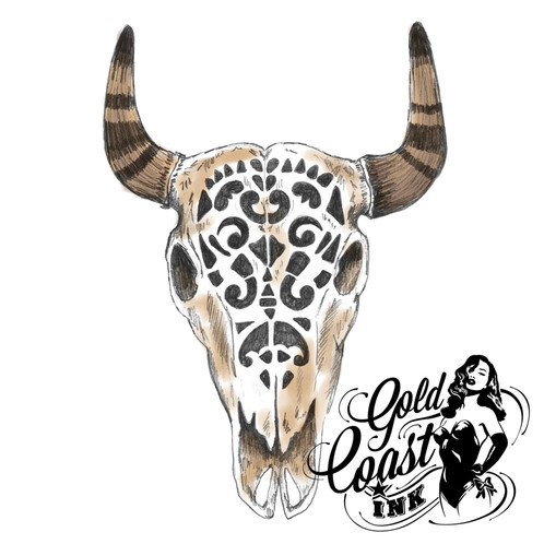 c5007e72a Beautiful black, white, brown Bull Skull temporary tattoo. This Tribal,  Boho, Cattle Skull design has been completely hand drawn.