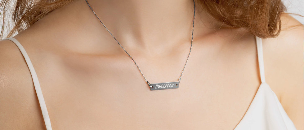 """#WOLFPAK"" Engraved Silver Bar Chain Necklace"