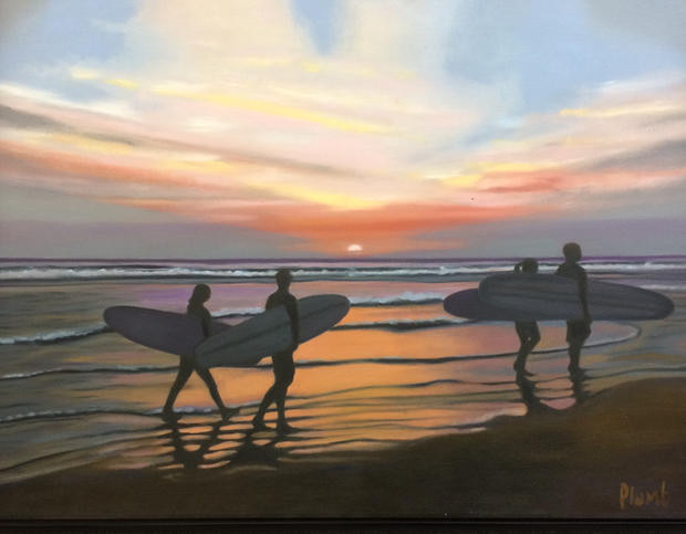 Surfers on the Beach SOLD
