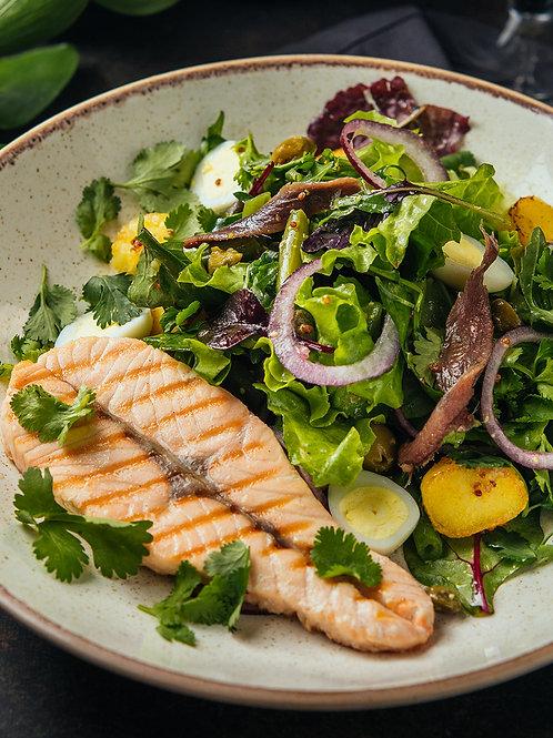 Стейк - салат с сёмгой