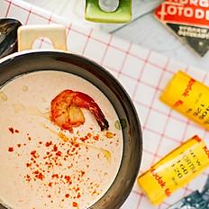 Крем-суп из семги и креветок