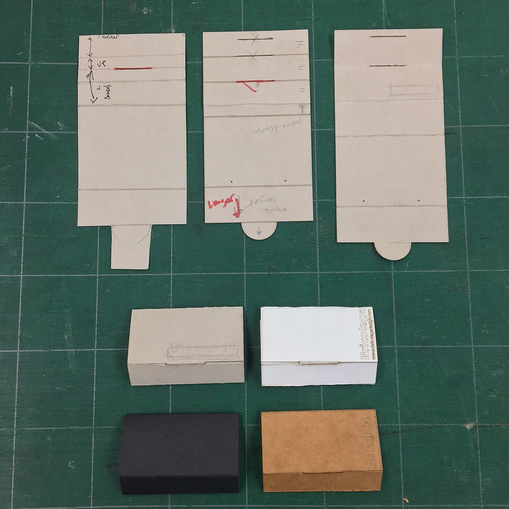 Earring case + stand. Packaging with secondary display function. Evolution of prototypes.