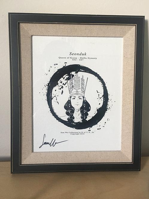 Queen Seonduk - Framed Canvas Print Signed by Artist