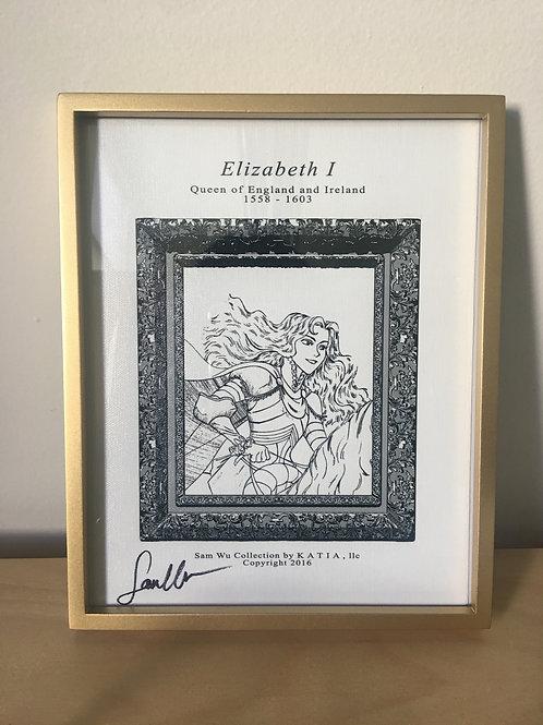 Elizabeth I - Framed Canvas Print Signed by Artist