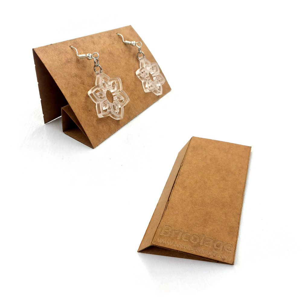 Earring case + stand. Packaging with secondary display function.