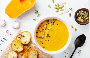 Crème de potiron et ses graines rôties