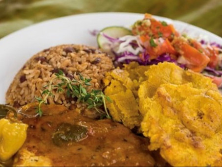 "Caribbean ""Rice ~n~ Beans"" with Patacones"