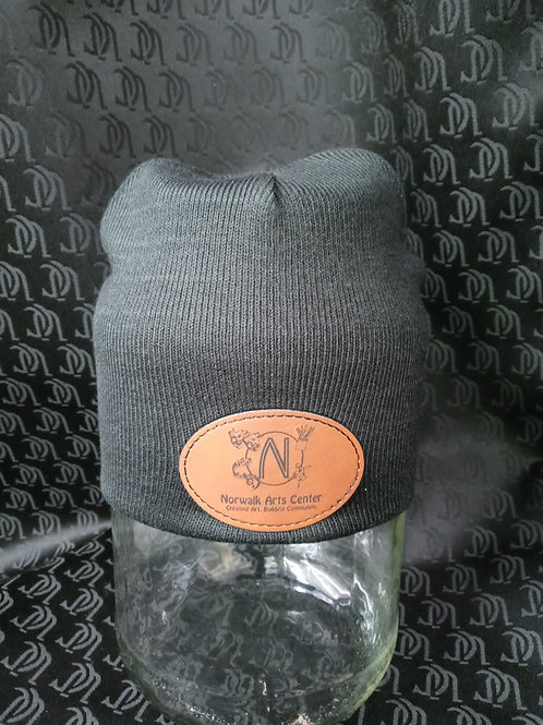 Black Knit Skull cap with faux leather NAC logo
