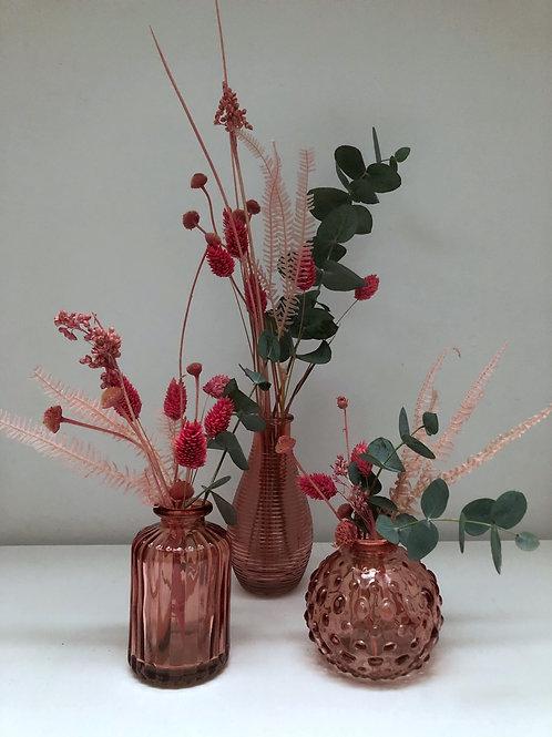 3 minis vases et leurs fleurs séchées assorties