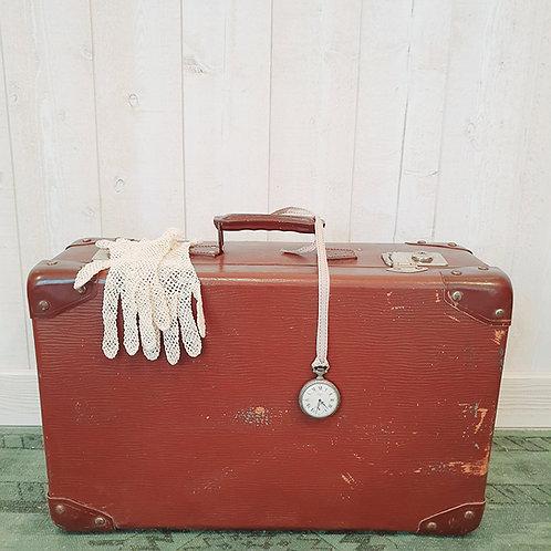 Ancienne Valise en carton marron foncé Brocante vintage