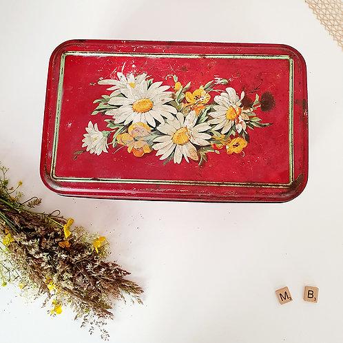 Ancienne Grande boîte en métal rouge motifs fleurs brocante shabby chic campagne vintage