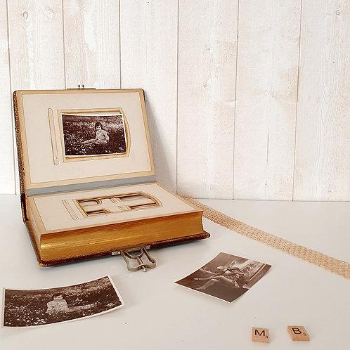Ancien Album photos en cuir brocante antiquité fermoir tranche doré vintage