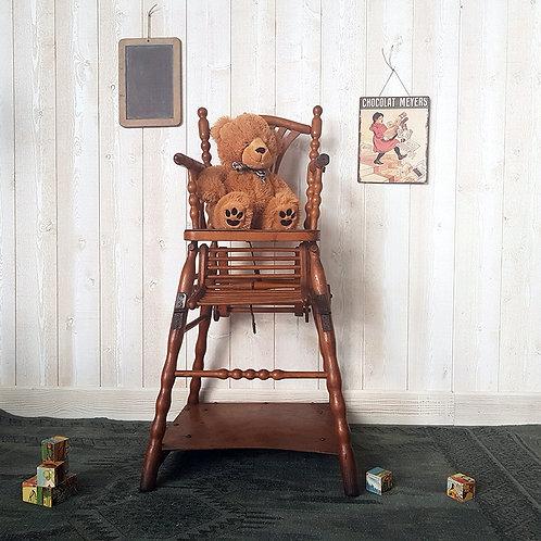 ancienne Chaise haute enfant bébé bois vintage brocante