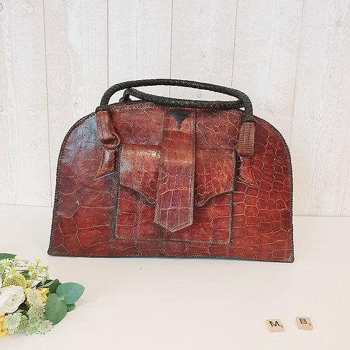 ancien bagage Sac en crocodile cuir marron occasion brocante chic vintage