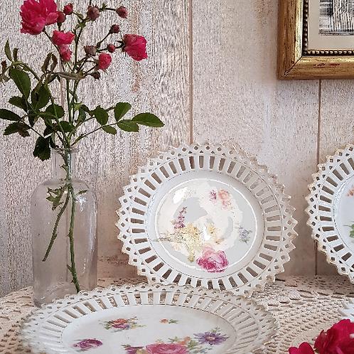 ancien Service à dessert réticulé assiette porcelaine vintage brocante