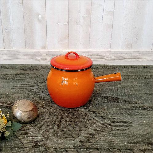 Ancien Petite Chaudron orange en émail Brocante vintage