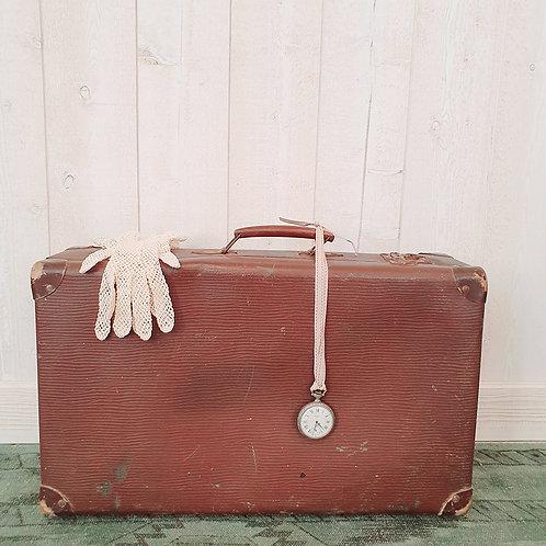 Ancienne Valise en carton marron foncé brocante décoration vintage