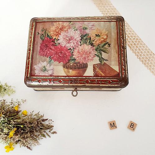 Ancienne Boîte métal motif fleurs avec clé brocante vintage