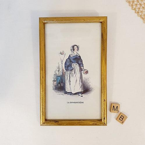 Ancienne illustration la bouquetière