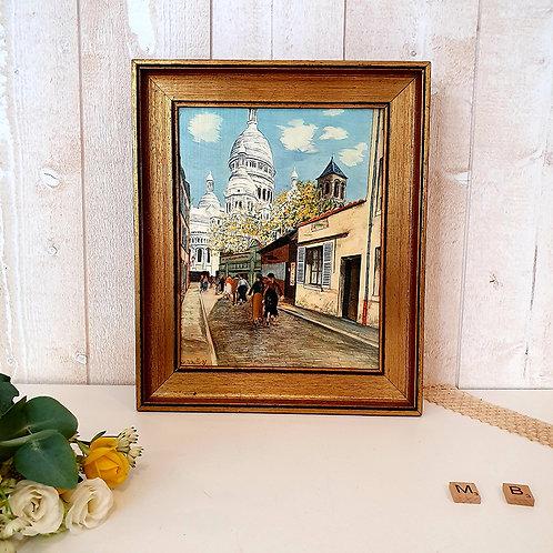 reproduction La Basilique du Sacré Coeur Utrillo cadre doré décoration vintage brocante