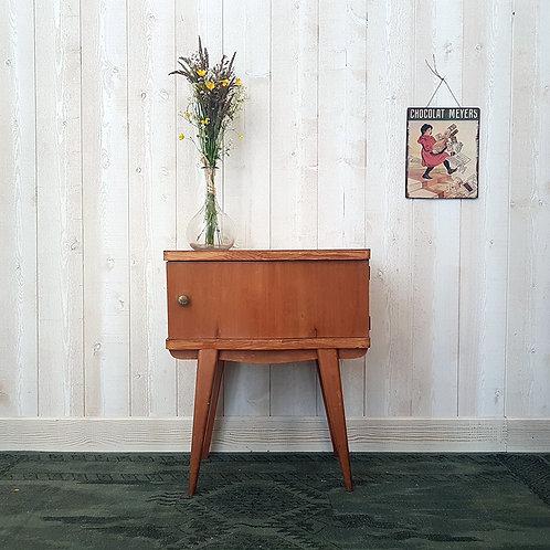 ancienne Table de chevet nuit bois pieds compas vintage brocante mobilier