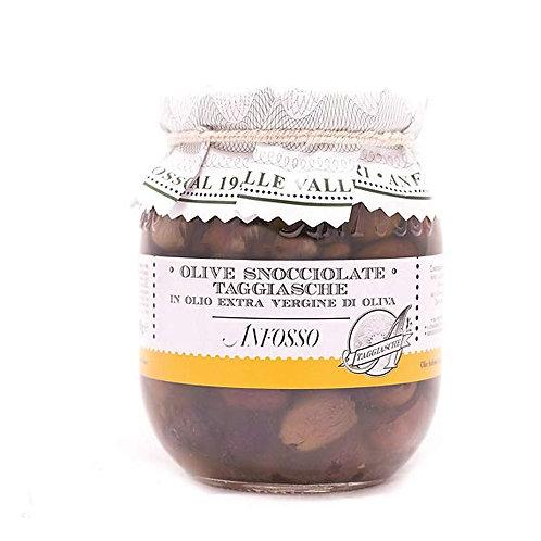 Olive Taggiasca Snocciolate in olio extravergine di oliva ligure 185gr., prodotte da Olio Anfosso