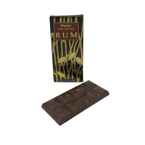 Tavoletta di cioccolato extrafondente 70% con Rum Cioccolato Stainer 50gr