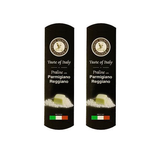 Praline di cioccolato bianco ripiene di Parmigiano Reggiano DOP