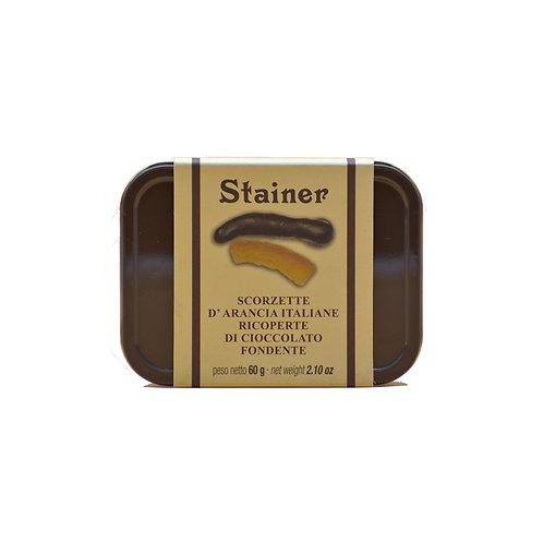 scatola di scorzette di arancio ricoperta di cioccolato fondente Stainer