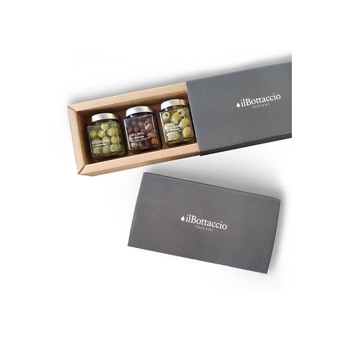 Confezione regalo di olive in salamoia