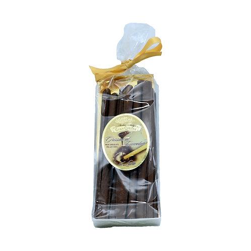 Grissini torinesi ricoperti di cioccolato al latte