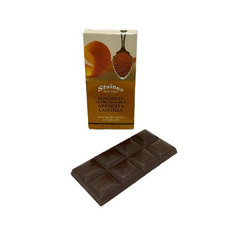 Tavoletta di cioccolato fondente con arancio e cannella Stainer 50 gr