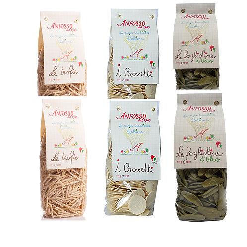 Pasta tipica ligure trofiette, foglie d'ulivo, croxetti olio Anfosso, pasta di semola di grano duro, lenta essicazione