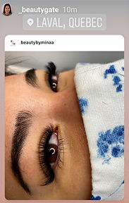 Instagram photo of lash work done at Beauty Gate Laval